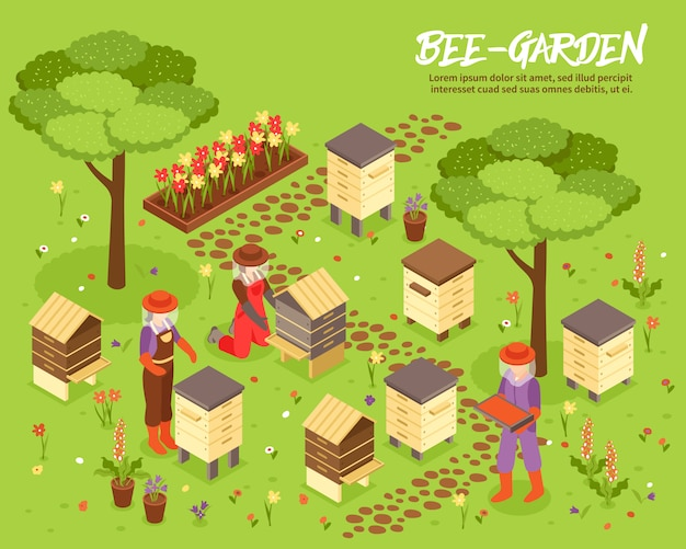 Illustrazione isometrica dell'iarda di beegarden bee