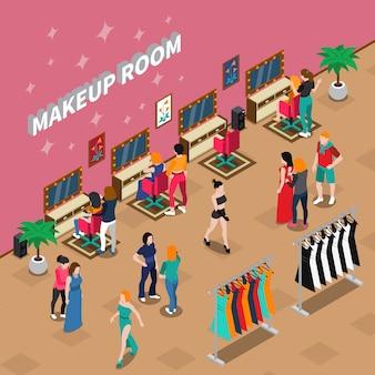 Illustrazione isometrica dell'industria della moda della stanza di trucco