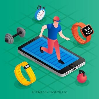 Illustrazione isometrica dell'inseguitore di fitness moderno