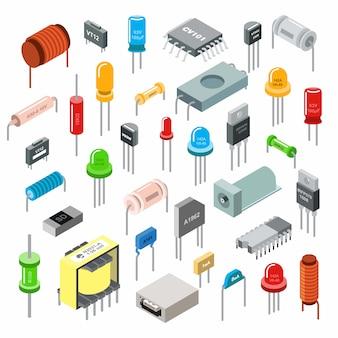 Illustrazione isometrica dell'insieme del componente elettronico isolata. concetto di elettronica e tecnologia elettrica.