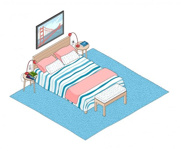 Illustrazione isometrica dell'interno della camera da letto.