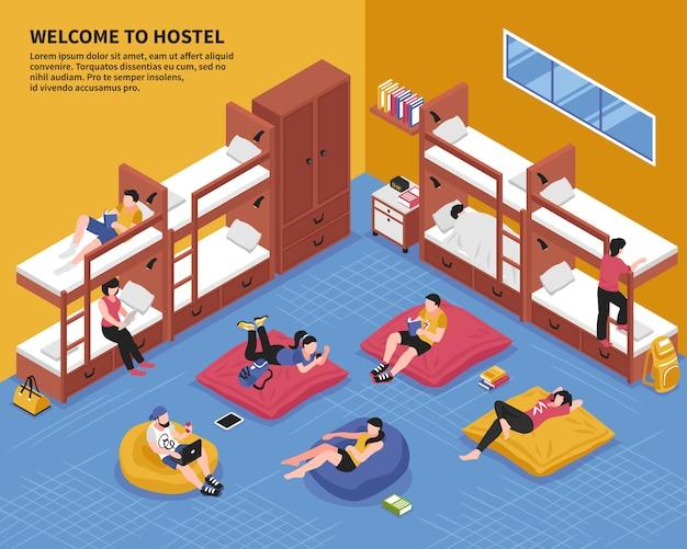 Illustrazione isometrica della camera da letto dell'ostello