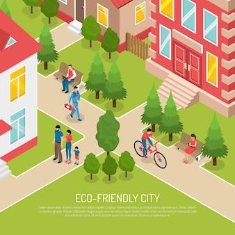 Illustrazione isometrica della città amichevole di eco