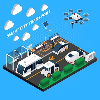 Illustrazione isometrica della città intelligente con simboli di punto di trasporto e taxi