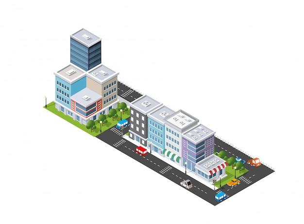 Illustrazione isometrica della città moderna