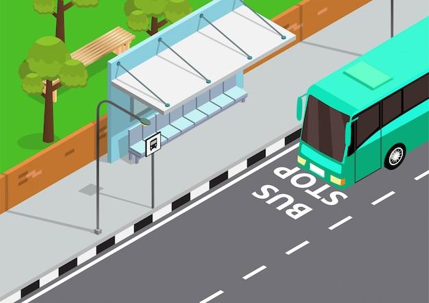 Illustrazione isometrica della fermata dell'autobus