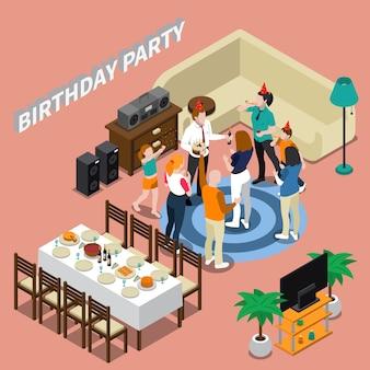 Illustrazione isometrica della festa di compleanno