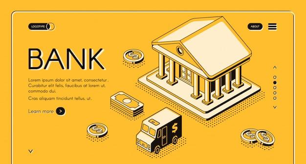 Illustrazione isometrica della linea sottile dei soldi e della banca dei soldi del dollaro e del furgone di contanti dei contanti