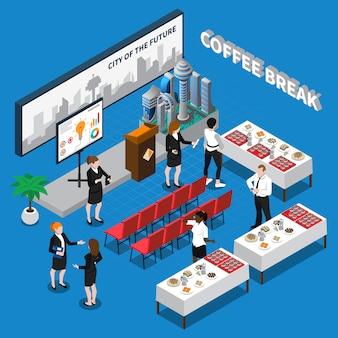 Illustrazione isometrica della pausa caffè