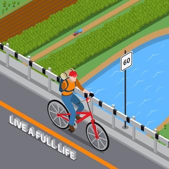 Illustrazione isometrica della persona disabile su bicicletta