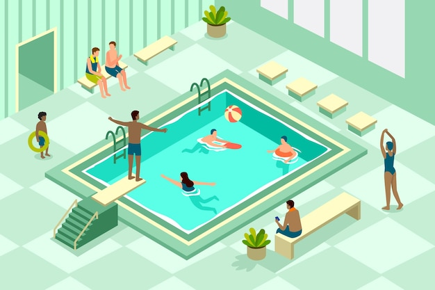 Illustrazione isometrica della piscina pubblica