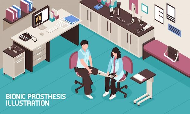 Illustrazione isometrica della protesi bionica