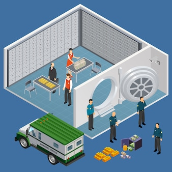 Illustrazione isometrica della stanza della cassetta di sicurezza
