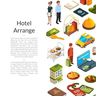 Illustrazione isometrica delle icone dell'hotel