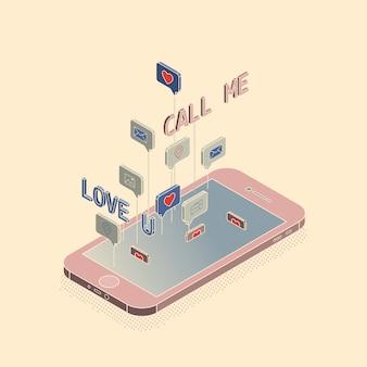 Illustrazione isometrica delle icone di smartphone e del sociale