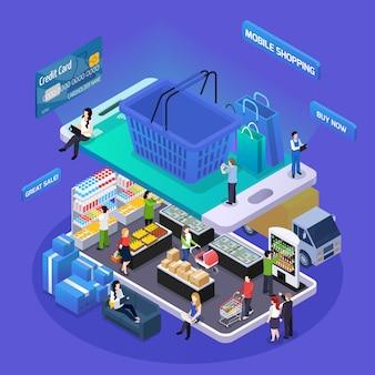Illustrazione isometrica dello shopping online