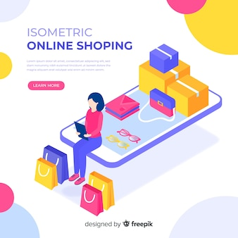 Illustrazione isometrica dello shopping online
