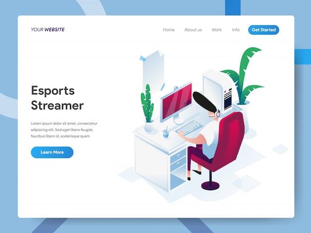 Illustrazione isometrica dello streamer di esports per la pagina web