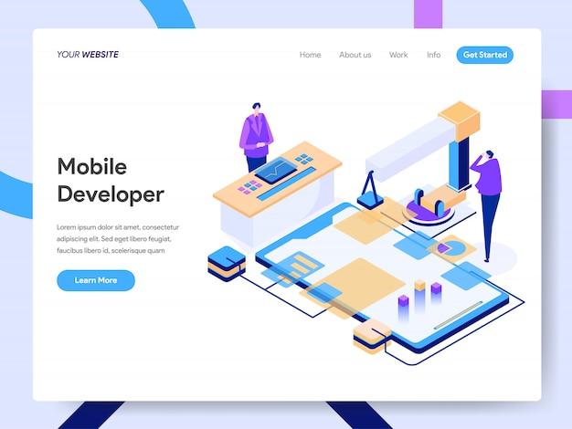 Illustrazione isometrica dello sviluppatore mobile per la pagina web