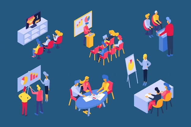 Illustrazione isometrica di addestramento di affari, uomo d'affari sulla conferenza o seminario consultantesi, insieme di riunione del gruppo