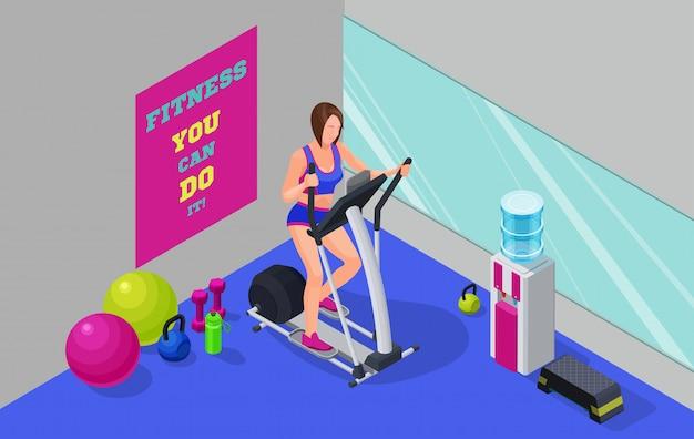 Illustrazione isometrica di allenamento cardio fitness