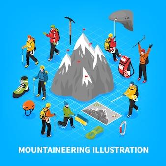 Illustrazione isometrica di alpinismo