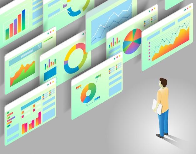 Illustrazione isometrica di analisi dei dati