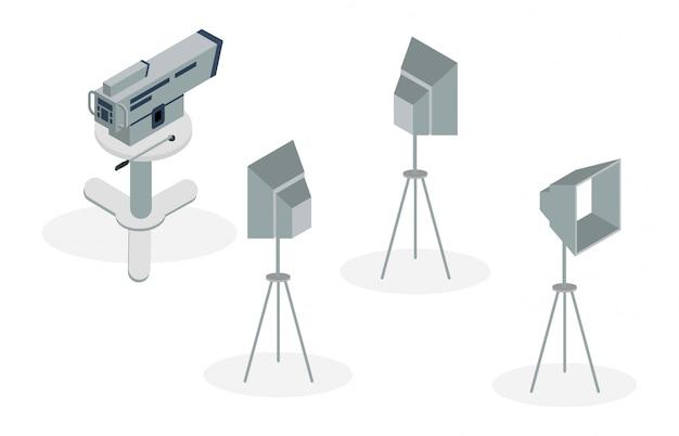 Illustrazione isometrica di apparecchiature per la produzione di film