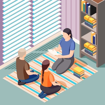 Illustrazione isometrica di apprendimento alternativo con insegnante e bambini seduti sul pavimento durante la lezione di letteratura
