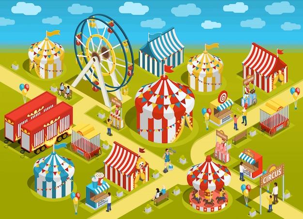 Illustrazione isometrica di attrazioni del circo del parco di divertimenti