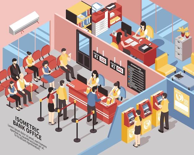 Illustrazione isometrica di bank office