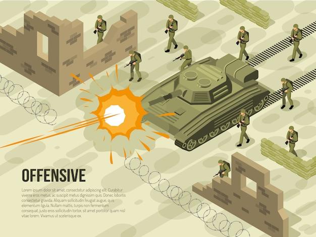 Illustrazione isometrica di battaglia militare