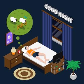 Illustrazione isometrica di buona notte