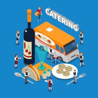 Illustrazione isometrica di catering