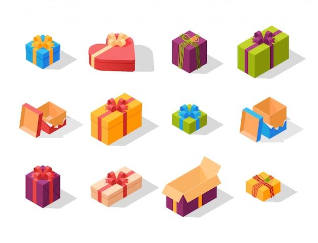 Illustrazione isometrica di compleanno di saluto di evento della composizione nel pacchetto dei contenitori di regalo.