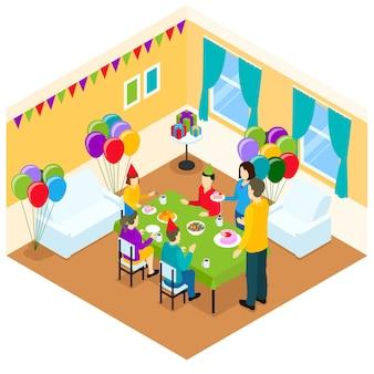 Illustrazione isometrica di compleanno