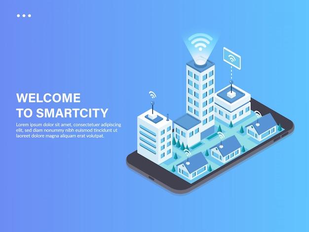 Illustrazione isometrica di concetto città intelligente