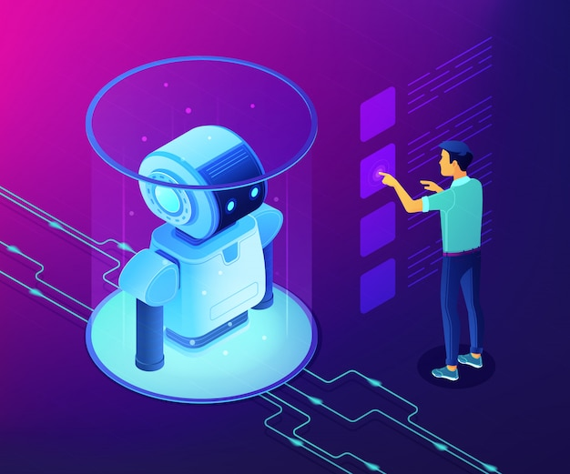 Illustrazione isometrica di concetto di analisi dei dati di robotica.