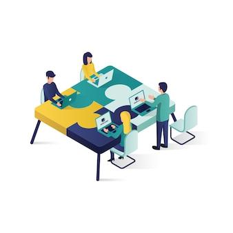 Illustrazione isometrica di concetto di associazione di cooperazione dell'illustrazione di concetto di lavoro di squadra nello stile isometrico.