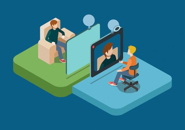Illustrazione isometrica di concetto di conferenza di chiacchierata di videochiamata. due uomini che parlano su webcam.