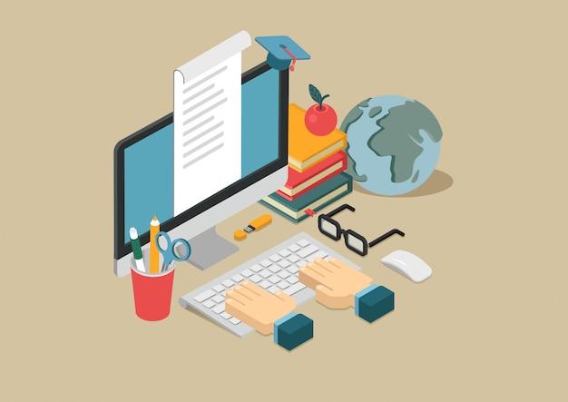 Illustrazione isometrica di concetto di corsi di e-learning online di istruzione braccia sulla tastiera apple su libri monitor computer globo graduazione cap.