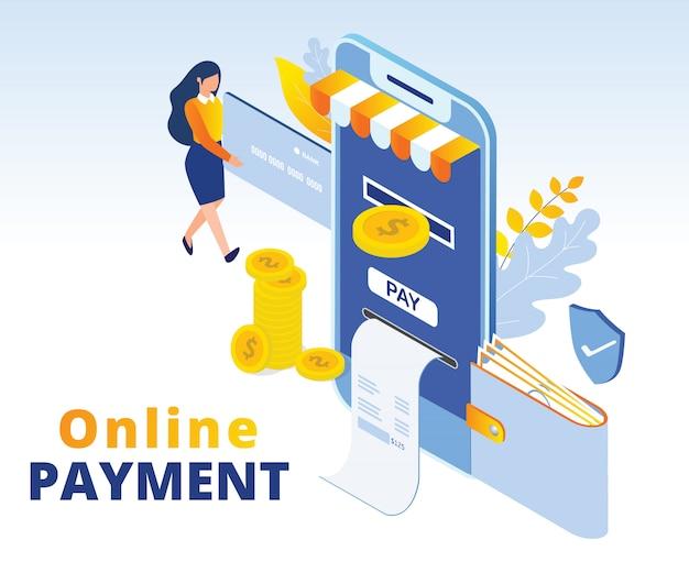 Illustrazione isometrica di concetto di pagamento online
