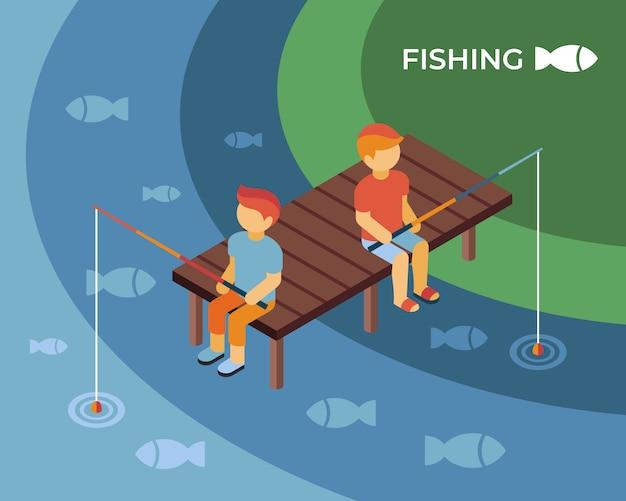 Illustrazione isometrica di concetto di pesca