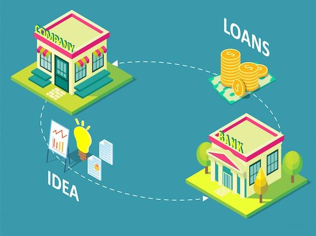 Illustrazione isometrica di concetto di prestito dell'azienda