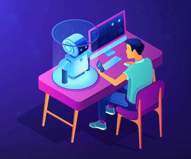 Illustrazione isometrica di concetto di programmazione di robotica.