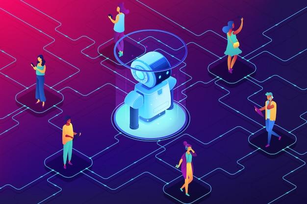 Illustrazione isometrica di concetto di robotica sociale.