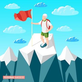 Illustrazione isometrica di concetto di successo personale con paesaggio montano e persona del cragsman con bandiera che resta sul picco