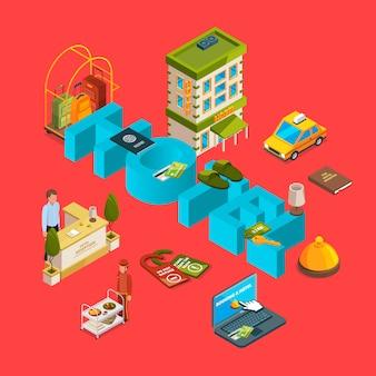 Illustrazione isometrica di concetto di vettore dell'hotel isometrico