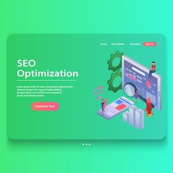 Illustrazione isometrica di concetto di web page di ottimizzazione di seo