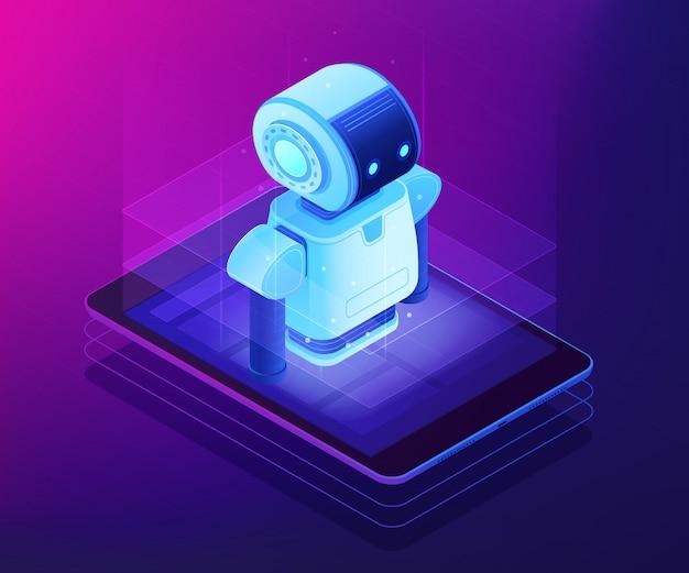 Illustrazione isometrica di concetto mobile di robotica.